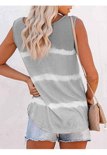 Grey Tie Dye Buttoned Neck Tank Top XC724