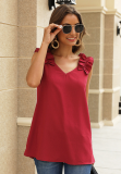 Red Solid V Neck Ruffled Shoulder Tank Top