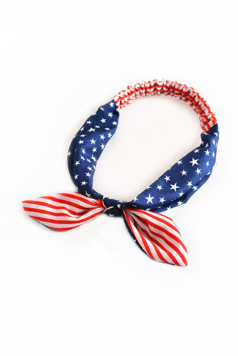 Stripes and Stars Flag Print Crossing Knot Hairband LC01078