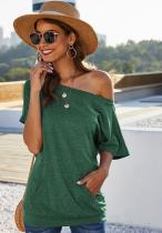 Green Slopping Shouder Design Solid Top