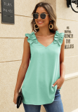 Green Solid V Neck Ruffled Shoulder Tank Top
