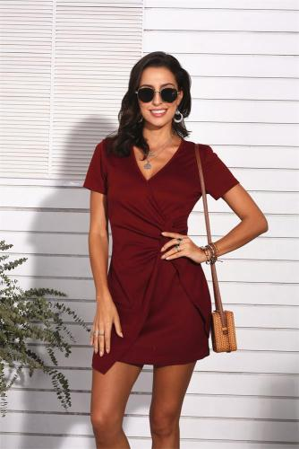 Wine Red Sexy V Neck Short Sleeve Dress