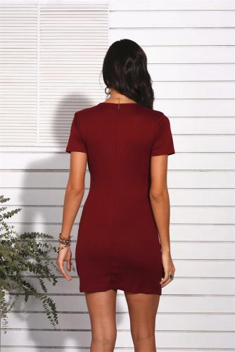 Wine Red Sexy V Neck Short Sleeve Dress XC8181