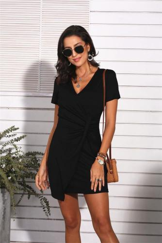 Black Sexy V Neck Short Sleeve Dress