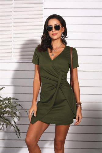 Army Green Sexy V Neck Short Sleeve Dress