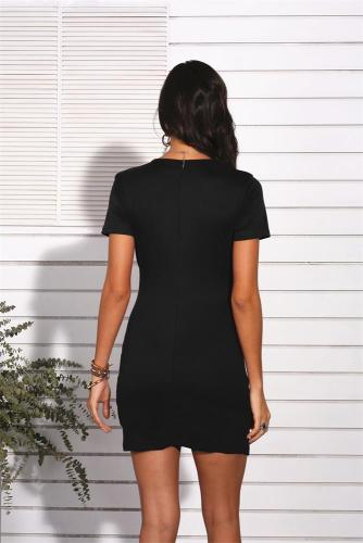 Black Sexy V Neck Short Sleeve Dress XC8181