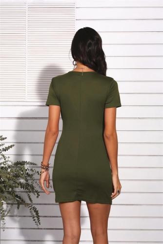 Army Green Sexy V Neck Short Sleeve Dress XC8181