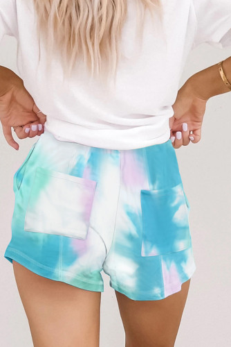 Multicolor Knit Tie Dye Lounge Shorts LC77349