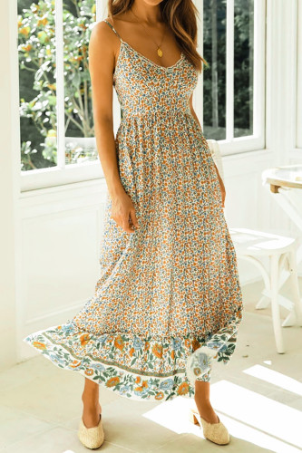 Beige Spaghetti Straps Floral Long Dress