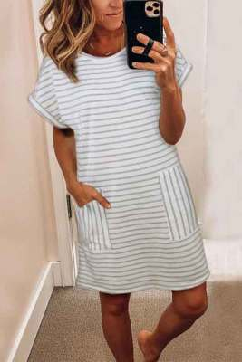 Striped Casual Short Dress with Pocket