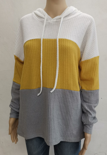 Colorblock Waffle Knit Sweatshirt with Hoodies XC746