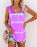 Purple Tie Dye Buttoned Neck Tank Top