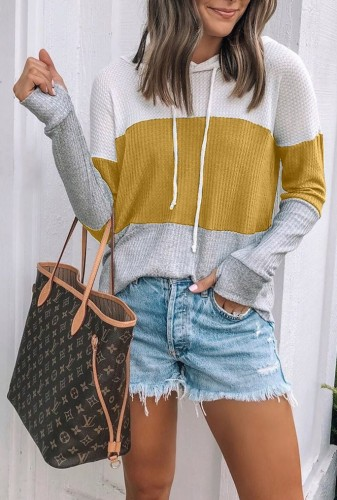 Colorblock Waffle Knit Sweatshirt with Hoodies