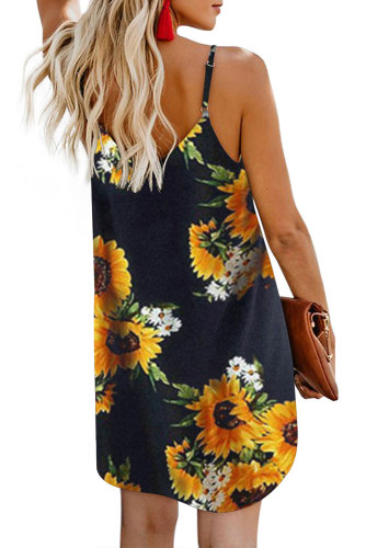 Black Sunflower Pattern Buttoned Slip Cami Dress LC220720
