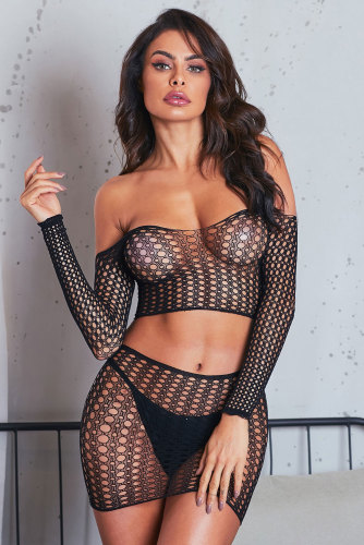 Fishnet Long Sleeve Crop Top Skirt Set