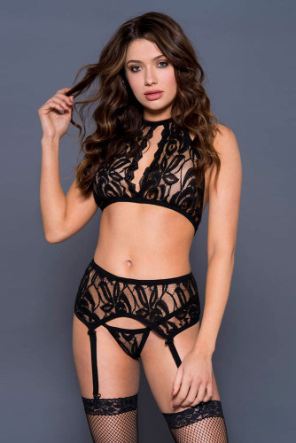 Black Open Bust Top And G-string Set