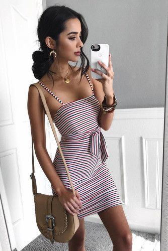 Red Sexy Sling Striped Sleeveless Short Dress