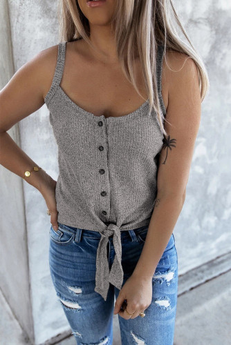 Gray Buttoned Knit Camisole