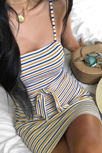 Yellow Sexy Sling Striped Sleeveless Short Dress LC22584