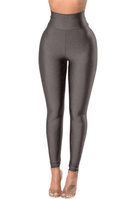 Gray High Rise Tight Leggings with Waist Cincher