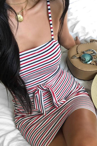 Red Sexy Sling Striped Sleeveless Short Dress LC22584