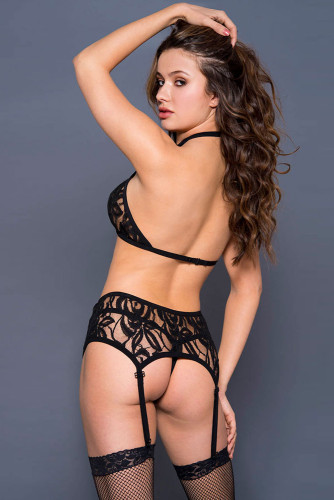 Black Open Bust Top And G-string Set LC43198