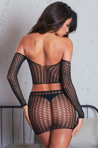 Fishnet Long Sleeve Crop Top Skirt Set LC31486