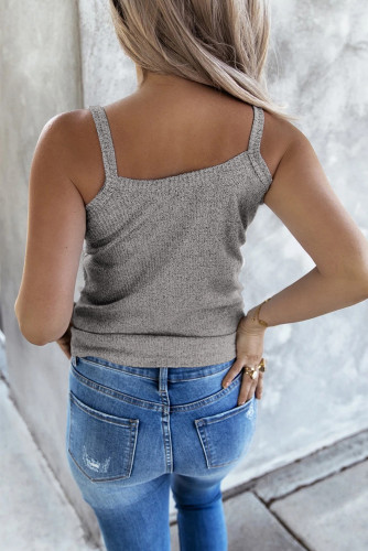Gray Buttoned Knit Camisole LC256105