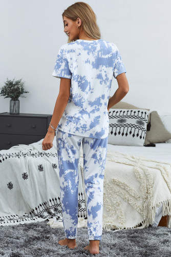 Blue Tie-dye T-shirt Pants PJ Set LC45053