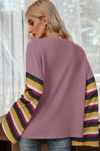 Pink Stripe Bell Sleeves T-shirt XC776