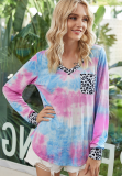 Tie Dye Top with Leopard Pocket