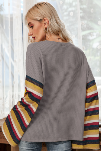 Grey Stripe Bell Sleeves T-shirt XC776