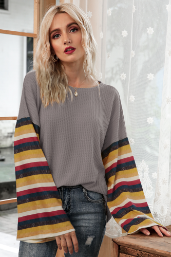 Grey Stripe Bell Sleeves T-shirt