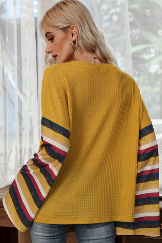 Yellow Stripe Bell Sleeves T-shirt XC776