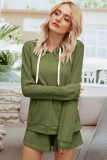 Green 2 Pieces Outfits Shorts Set with Hoodies