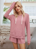 Pink 2 Pieces Outfits Shorts Set with Hoodies