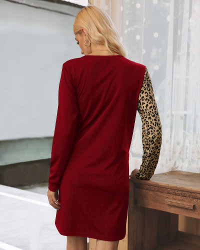Wine Red Sexy Leopard Patchwork Long Sleeve Dress XC770