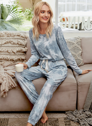 Grey Tie-dye Drawstring Jumpsuit