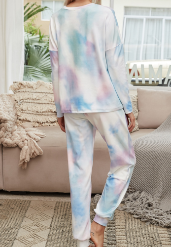 Tie Dye Ombre Colorblock Loungewear Pants Set XC766