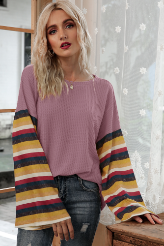 Pink Stripe Bell Sleeves T-shirt