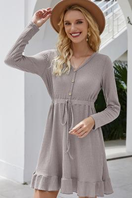 Grey Drawstring Falbala V-neck Dress