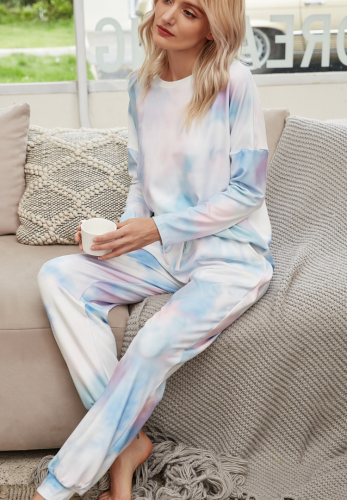 Tie Dye Ombre Colorblock Loungewear Pants Set