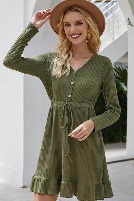 Green Drawstring Falbala V-neck Dress