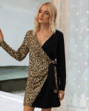 Black Sexy Leopard Patchwork Long Sleeve Dress