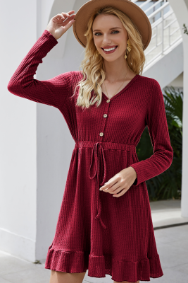 Wine Red Drawstring Falbala V-neck Dress