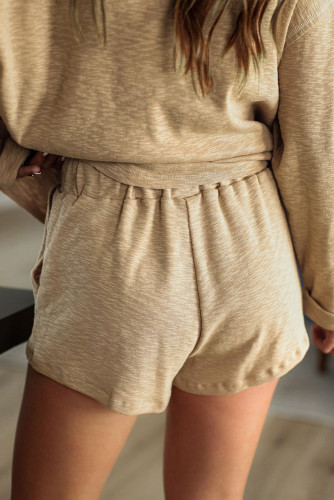 Khaki Pocketed Knit Loungewear Set LC45020