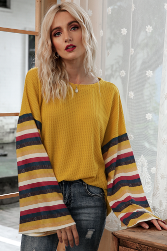 Yellow Stripe Bell Sleeves T-shirt