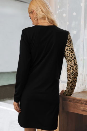 Black Sexy Leopard Patchwork Long Sleeve Dress XC770