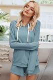 Blue 2 Pieces Outfits Shorts Set with Hoodies