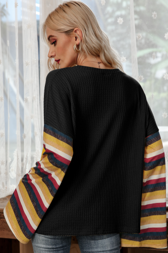 Black Stripe Bell Sleeves T-shirt XC776
